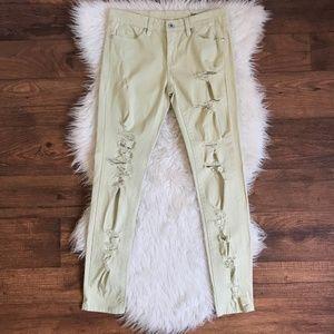 BlankNYC Green Distressed Studded Skinny Jeans